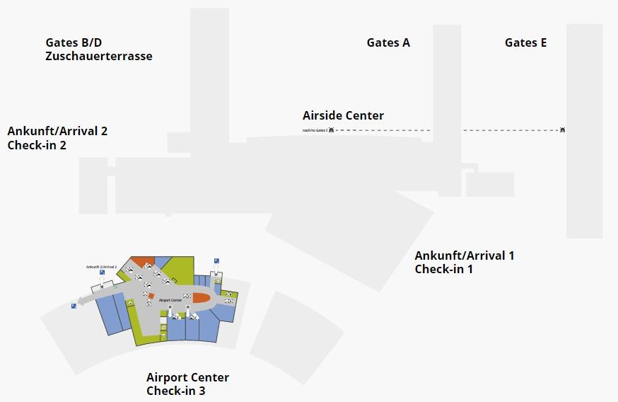 Схема аэропорта Цюриха: подземный уровень