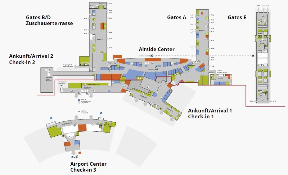 Схема аэропорта Цюриха: 1 уровень