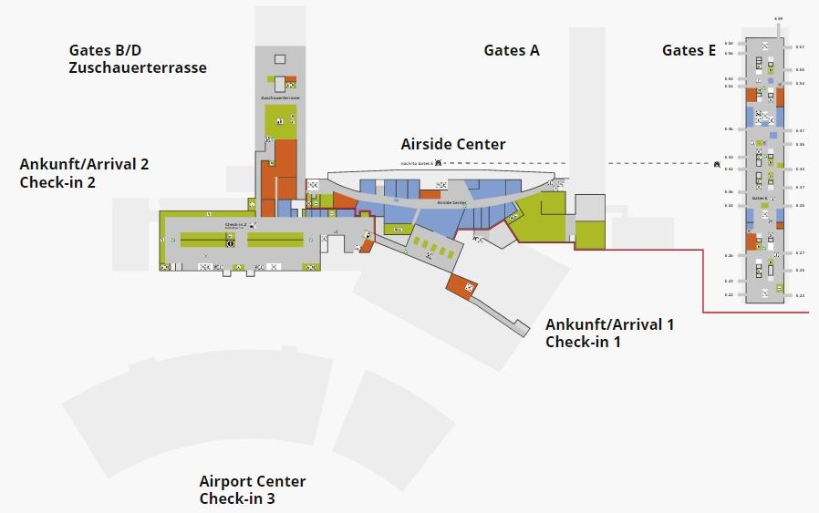 Схема аэропорта Цюриха: 2 уровень