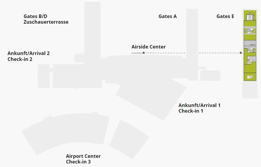 Схема аэропорта Цюриха: 3 уровень