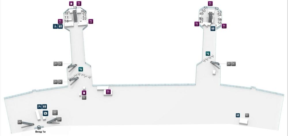 Схема терминала аэропорта Домодедово: уровень 0