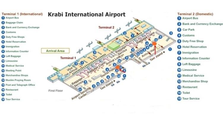 Схема терминалов аэропорта Краби