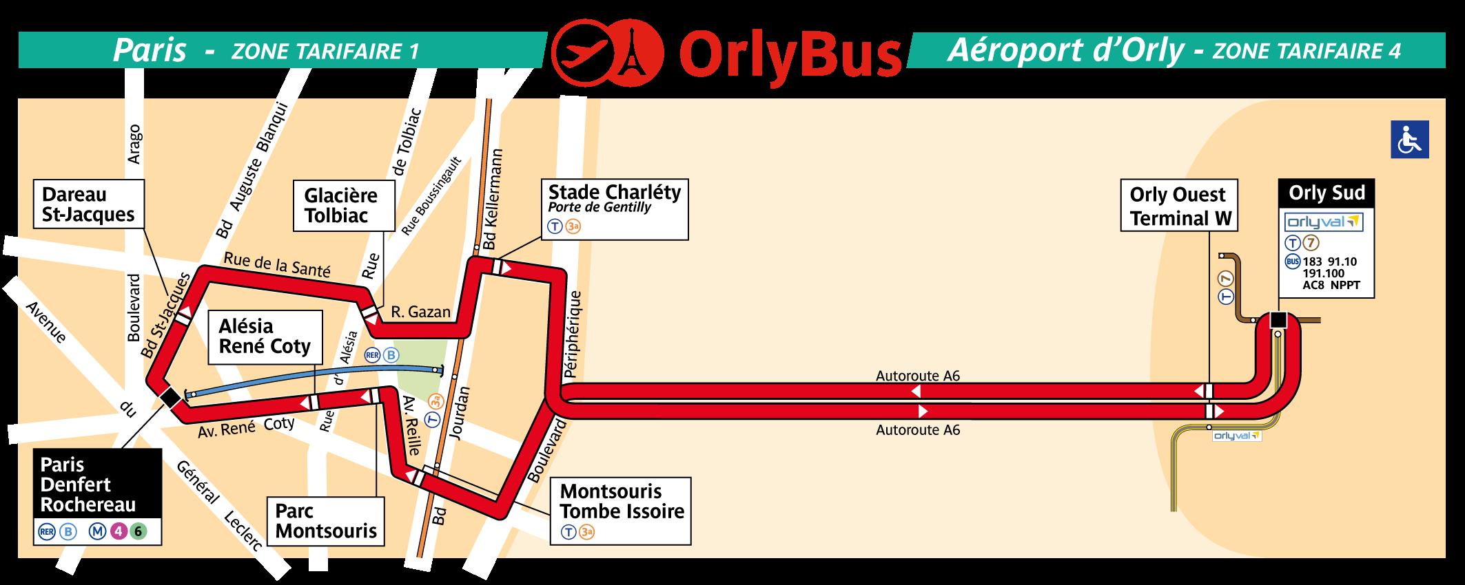 Маршрут автобуса Orlybus
