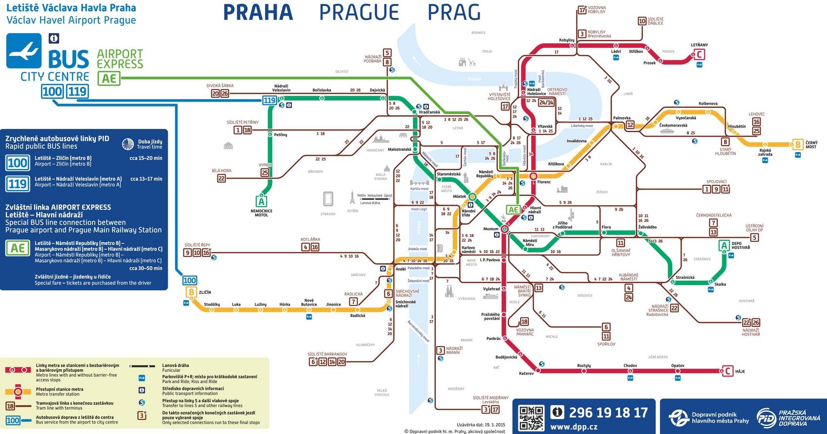 Схема движения автобусов из аэропорта Праги