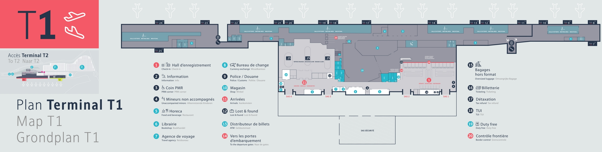 Схема терминалов аэропорта Шарлеруа: Т1