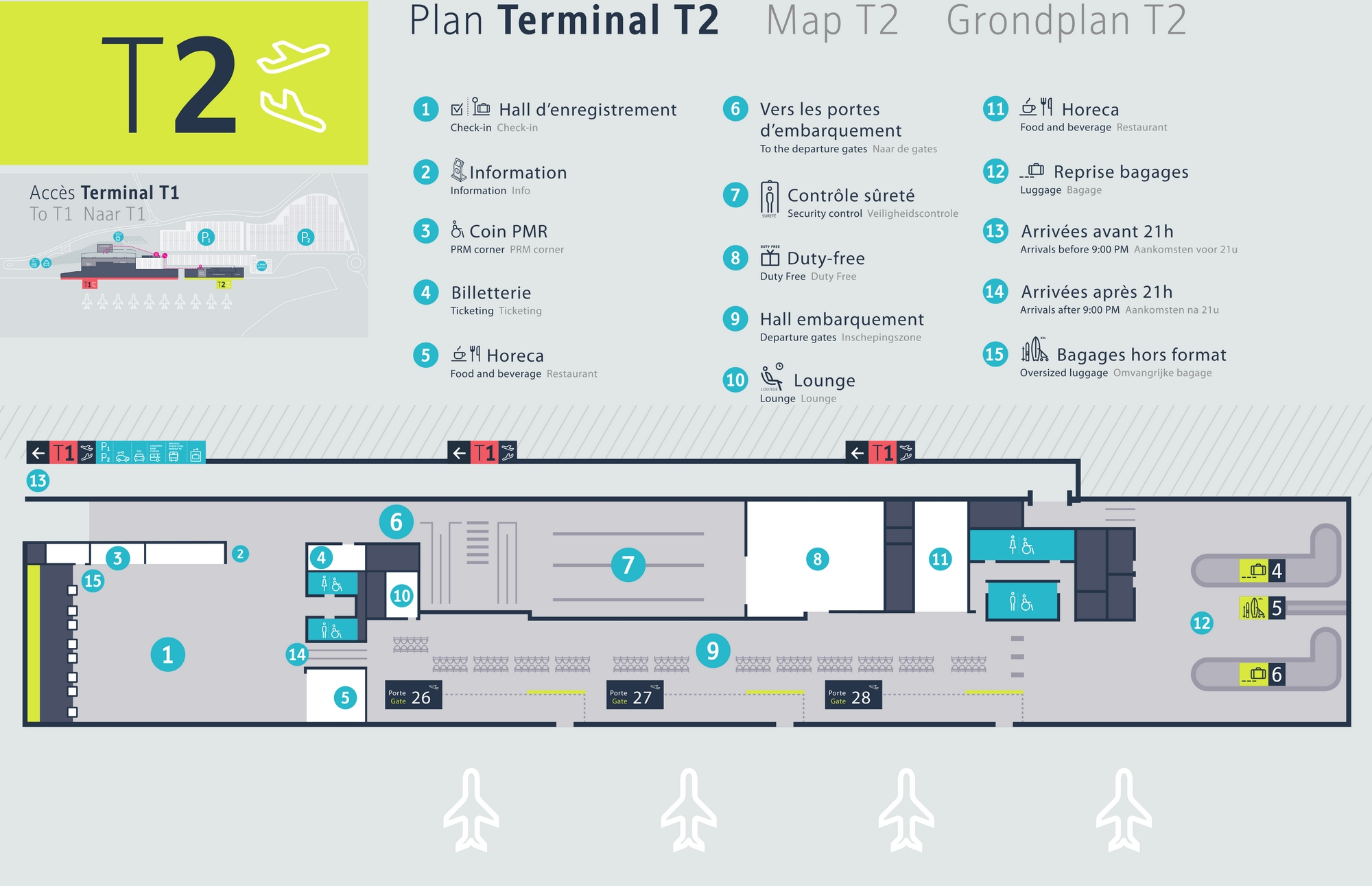 Схема терминалов аэропорта Шарлеруа: Т2