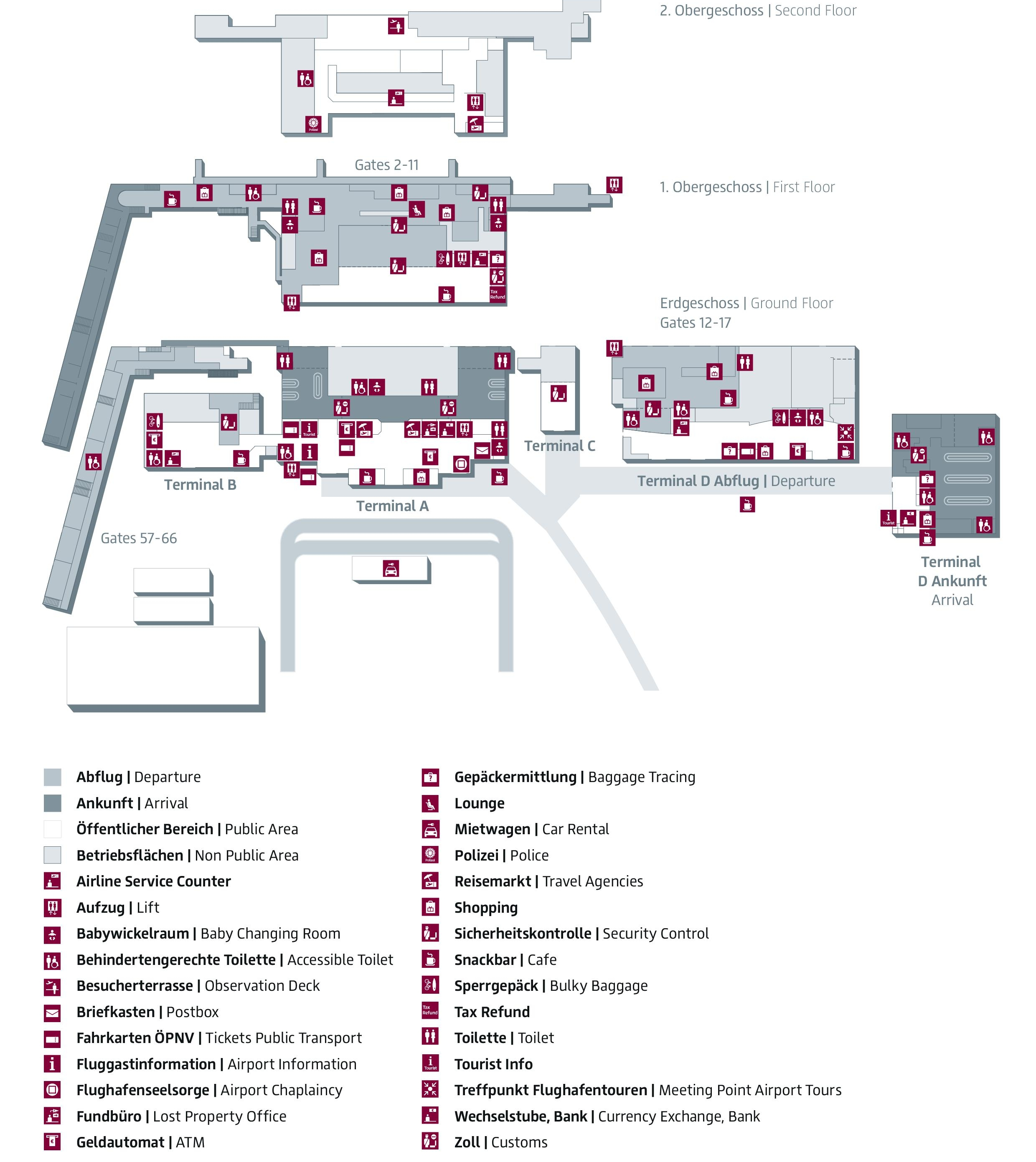 Схема аэропорта Шенефельд: терминалы аэропорта Берлина