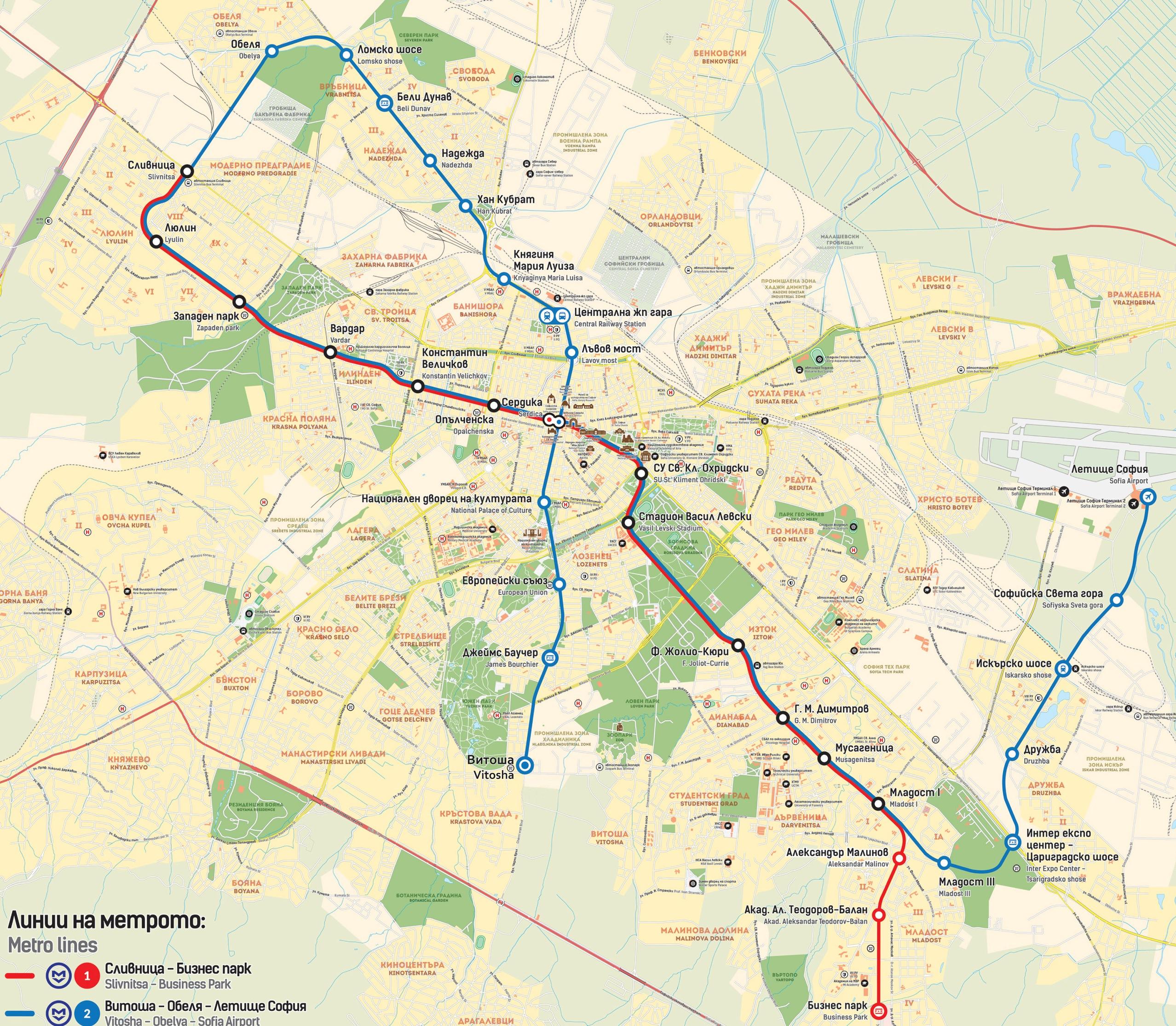 Схема метро города Софии