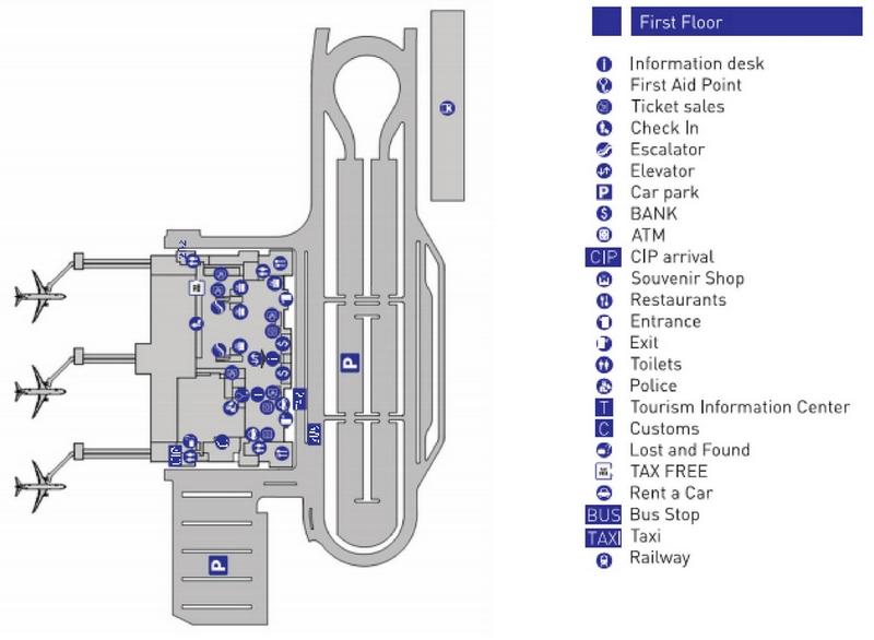 Схема пассажирского терминала аэропорта Тбилиси: 1 этаж