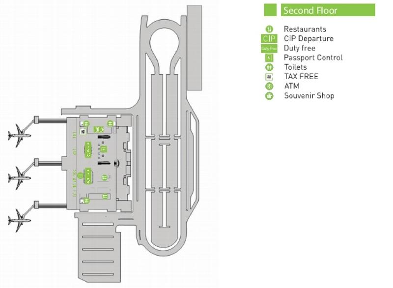 Схема пассажирского терминала аэропорта Тбилиси: 2 этаж