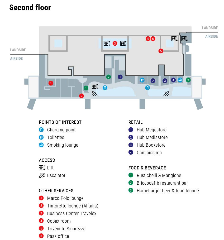 Схема терминала аэропорта Венеции: 3 этаж