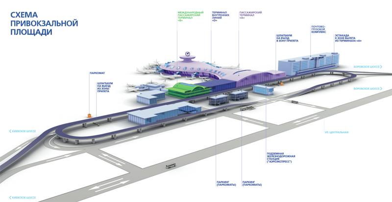 Схема привокзальной площади аэропорта Внуково
