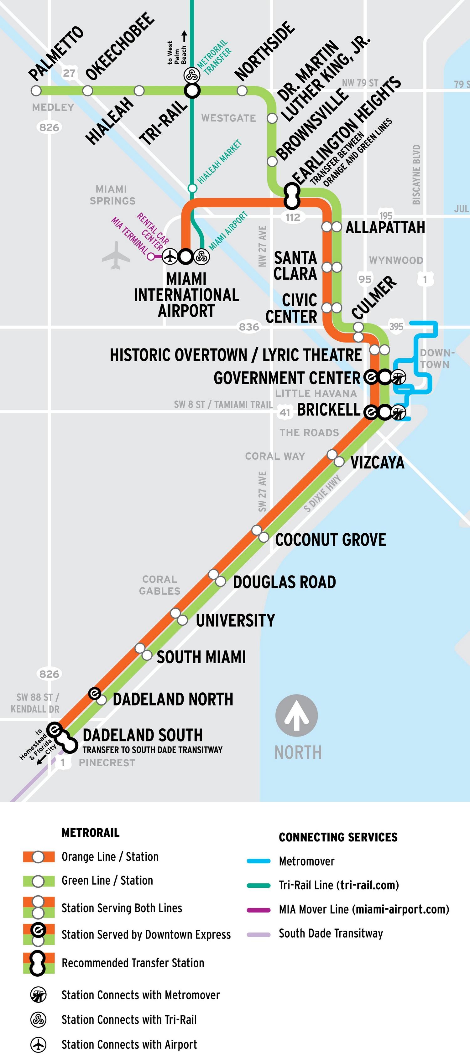 Схема поездов и метро из аэропорта Майами