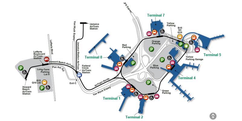 Схема аэропорта JFK