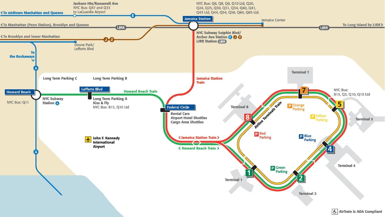 Схема общественного транспорта в аэропорту JFK, Нью-Йорк