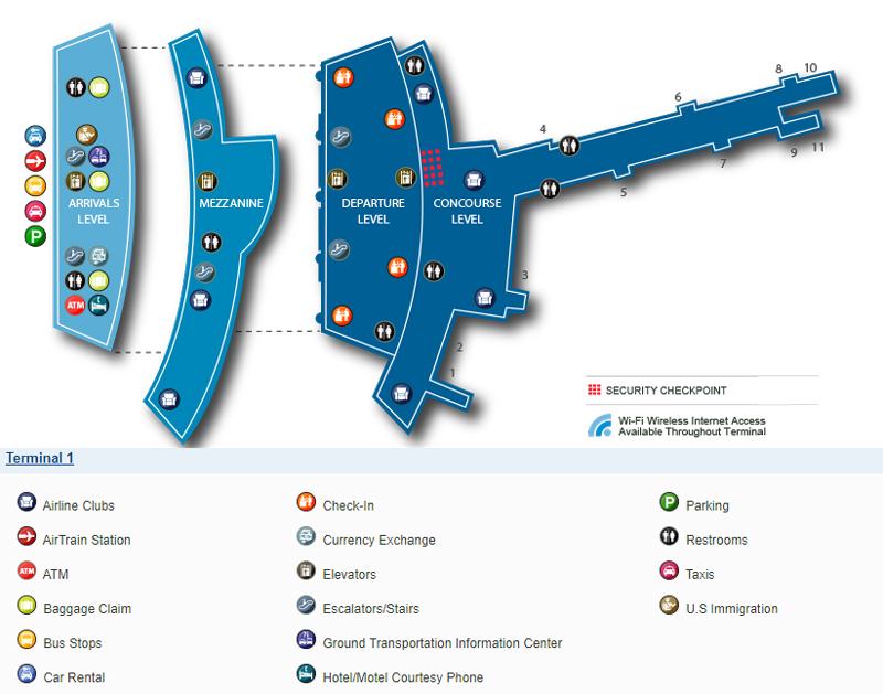 Схема терминала 1, аэропорт Кеннеди