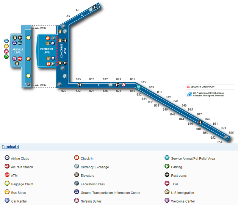 Схема терминала 4, аэропорт Кеннеди