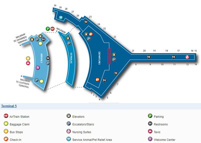 Схема терминала 5, аэропорт Кеннеди