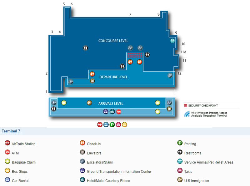 Схема терминала 7, аэропорт Кеннеди