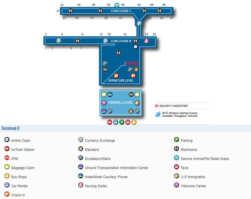 Схема терминала 8, аэропорт Кеннеди